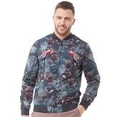 Ted Baker Mens Parma Print And Embroidery Bomber Jacket Teal Blue