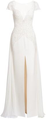 ZUHAIR MURAD Dragon Lace Long-Slit A-Line Gown
