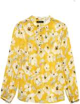 Banana Republic Floral Button-Front Poet-Sleeve Top