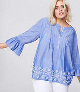 LOFT Plus Embroidered Chambray Bell Sleeve Top