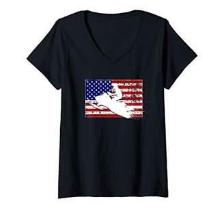 Womens USA Flag With Snowmobile V-Neck T-Shirt