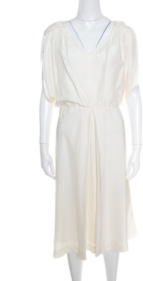 Fendi Cream Silk V-Neck Cut Out Sleeve Detail Inverted Pleat Dress S