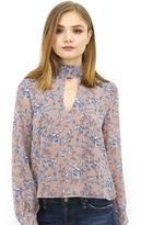West Coast Wardrobe Ojai Floral High Neck Top in Nude