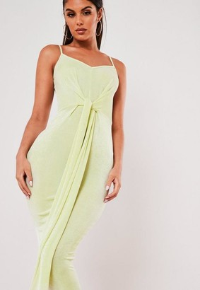 Missguided Green Slinky Strappy Tie Midaxi Dress