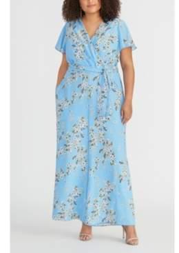 Rachel Roy Plus Size Floral-Print Faux-Wrap Jumpsuit