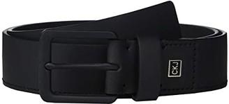 Calvin Klein 38mm Rubberized Leather Belt w/ Logo Plate