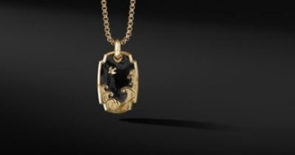David Yurman Waves Pendant In 18K Yellow Gold With Forged Carbon