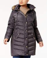 MICHAEL Michael Kors Size Faux-Fur-Trim Down Coat, Created for Macy's