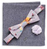 Original Penguin Three-Piece Floral Printed Bow-Tie, Lapel Pin & Checkered Pocket Square Set
