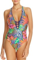 Trina Turk Tropical Plunge One Piece Swimsuit
