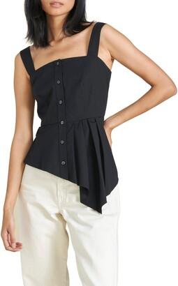 Veronica Beard Aleali Asymmetrical Peplum Sleeveless Stretch Cotton Top