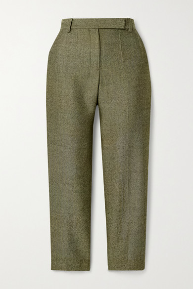 Brandon Maxwell Cropped Herringbone Wool Straight-leg Pants - Army green