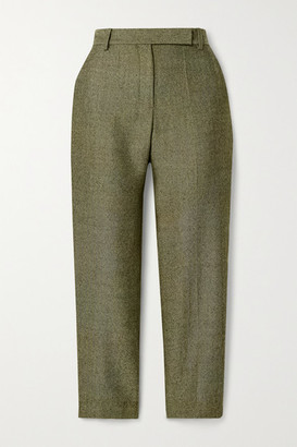 Brandon Maxwell Cropped Herringbone Wool Straight-leg Pants - Army green