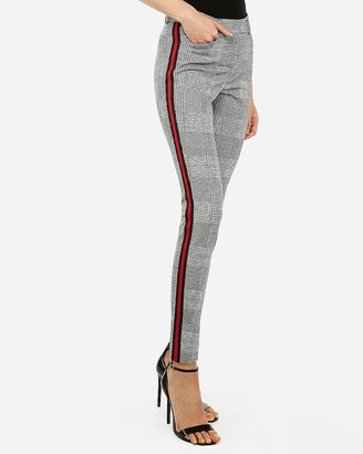 Express Mid Rise Plaid Side Stripe Skinny Pant
