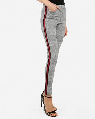 Express Mid Rise Plaid Side Stripe Skinny Pant