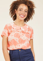 Vintage-inspired and versatile, this sheer blouse from our ModCloth namesake label is a true wardrobe win! The Peter Pan collar, smocked yoke, subtle bust ruffle, and apple pattern of this coral and rose top await a whole slew of occasions and you're just