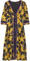 Saloni Eve Floral-print Silk Crepe De Chine Midi Dress - Yellow