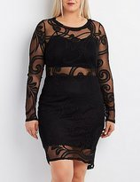Charlotte Russe Plus Size Paisley Mesh Bodycon Dress