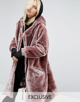 Story Of Lola Oversized Parka Jacket In Faux Fur