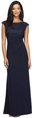 Alex Evenings Long Cap Sleeve Empire Waist Dress with Embroidered Lace Bodice (Navy) Women's Dress