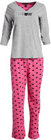 Rene Rofe Women's Sleep Bottoms CONVERCHAR - Gray & Pink 'Meow' Notch-Neck Pajama Set - Women
