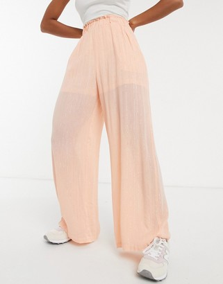 ELVI metallic wide leg trousers in peach