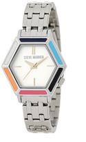 Steve Madden Women&s Hexagon Stainless Steel Bracelet Watch