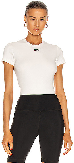 Off-White Basic Ribbed Tee in White