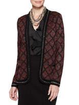 Misook Tweed and Mini Sequin Long-Sleeve Jacket