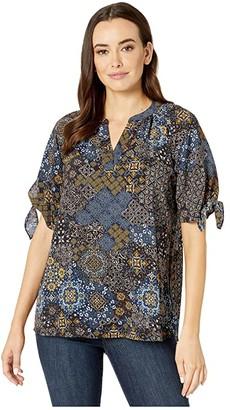 MICHAEL Michael Kors Mega Paisley Tie Sleeve Top (True Navy/Dark Chambray) Women's Clothing
