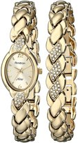 Swarovski Armitron Women's 753901CHGPST Crystal NOW Gold-Tone Dress Bracelet Set Watch