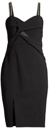 Parker Black Lazaro Embellished Twist-Front Dress