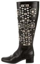 Saint Laurent Leather Studded Boots