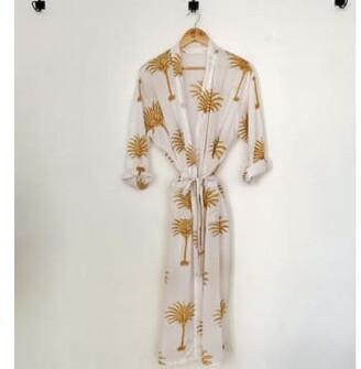 Margaux Palm Print Cotton Kimono