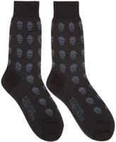 Alexander McQueen Black and Grey Short Skull Socks