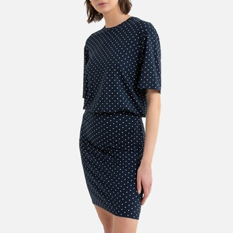 La Redoute Collections T-Shirt Mini Dress in Polka Dot Print with Short Sleeves