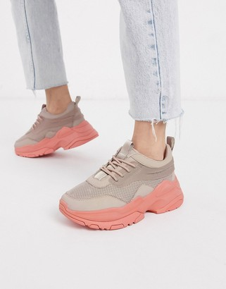 ASOS DESIGN Dutch chunky trainers in coral