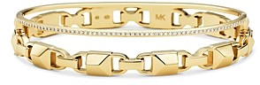 Michael Kors Pave Link Hinge Bangle Bracelet in 14K Gold-Plated Sterling Silver, 14K Rose Gold-Plated Sterling Silver or Solid Sterling Silver