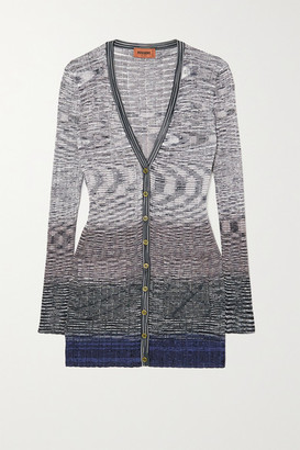 Missoni Space-dyed Ribbed Crochet-knit Cardigan - Blue