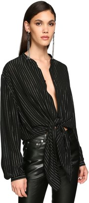 Saint Laurent Striped Muslin Lame Maxi Shirt
