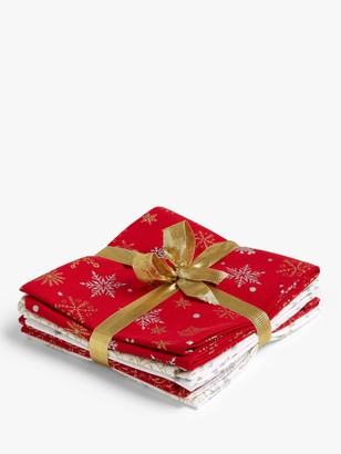Oddies Textiles Festive Print Fat Quarter Fabrics, Pack of 5, Red/Gold