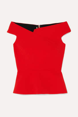 Roland Mouret Elmswell Off-the-shoulder Crepe Top - Red