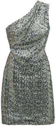 HANEY Valentina One-shoulder Sequined Georgette Mini Dress