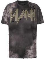 Balmain Distressed Batik Print Logo T-shirt - Brown