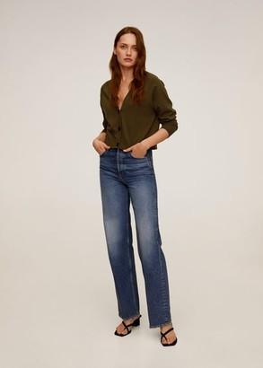 MANGO Buttoned short cardigan light/pastel grey - S - Women