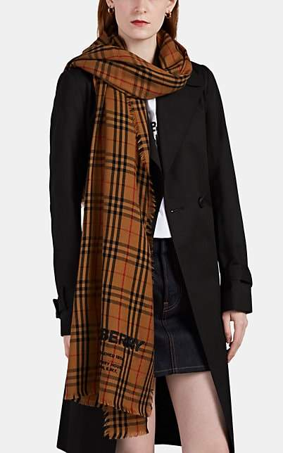 Burberry Women's Logo-Embroidered Checked Cashmere Scarf - Neutral