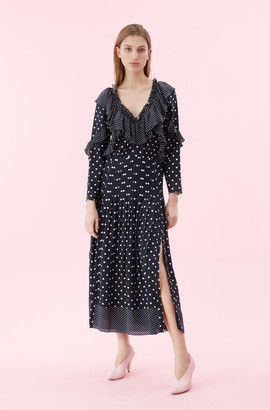 Rebecca Taylor Dot Print Ruffle Dress
