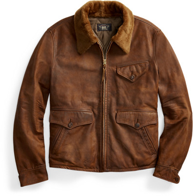 Thumbnail for your product : Ralph Lauren Shearling-Collar Leather Jacket
