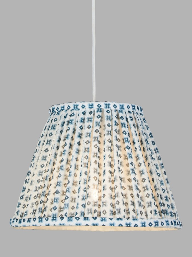 John Lewis & Partners Maurin Tapered Lampshade, White/Blue
