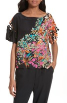 Tracy Reese Women's Tie Sleeve Floral Silk Top